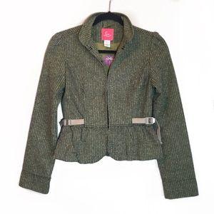 Anthropologie Lux Green Tweed Side Detail Blazer